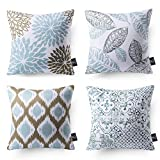 Phantoscope Set of 4 New Living Series Decorative Blue and Coffee Throw Pillow Case Cushion Cover 18 x 18 inches 45 x 45 cm