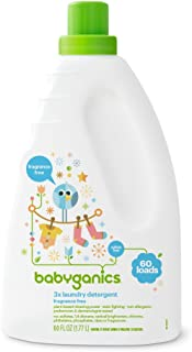 Babyganics Liquid Baby Laundry Detergent, Fragrance Free, 3X Concentrated, 60 Loads