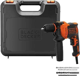 Black+Decker 710W 47,600BPM Single Gear Hammer Drill with 4 Drill Bits in Kitbox for Metal & Masonry Drilling, Orange/Blac...