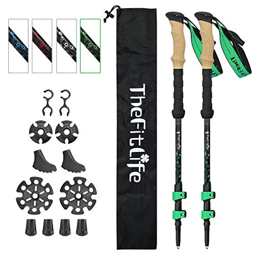 TheFitLife Carbon Fiber Trekking Poles – Collapsible and Telescopic Walking Sticks with Natural Cork Handle and Extended EVA Grips, Ultralight Nordic Hiking Poles for Backpacking Camping (Green)