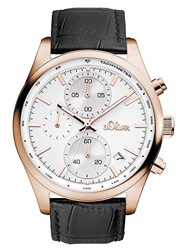s.Oliver Time Herren Chronograph Quarz Uhr mit Leder Armband SO-3347-LC