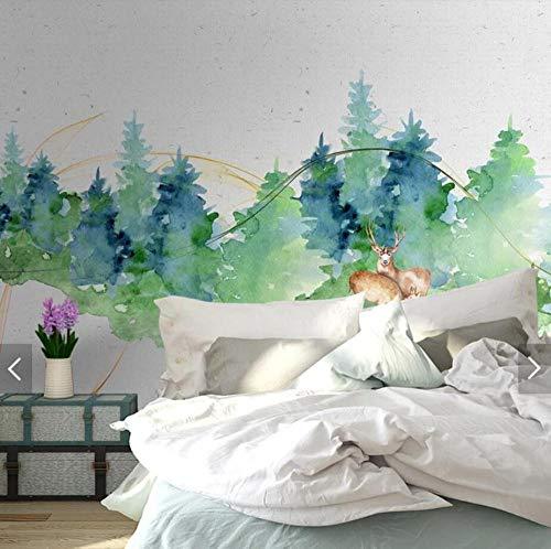 3D vliesbehang fotovlies premium fotobehang Scandinavisch aquarel bos wallpaper Murals voor woonkamer Home Wall Decor Wall Paper 200*140 200 x 140 cm.