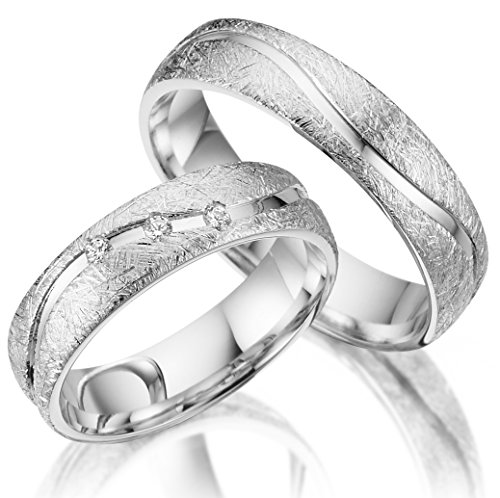 2 x Trauringe 925 Silber PAARPREIS inkl. Swarovski Crystal und Gravur AG.08 Ehe-ringe Verlobungs-ringe Heiraten Wedding Rings Band Platin Gold Silber Weißgold