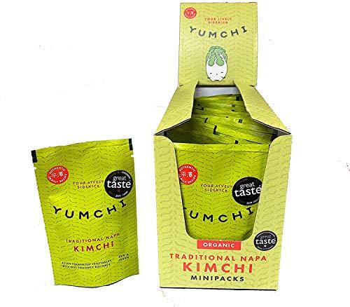 YUMCHI BIO Organisches Chinakohl Kimchi - Würziges asiatisches fermentiertes Gemüse - Roh, unpasteurisiert, vegan - Organisches Kimchi für Suppen, Salate & Wok-Gerichte (40g - 16 Packungen)