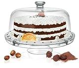 Piatto per dolci 4in 1per torta / da portata + campana in vetro