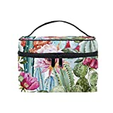 JOKERR Makeup Bag, Tropical Cactus Flower Portable Travel Case Large Print Cosmetic Bag Organizer Compartments for Girls Women Lady