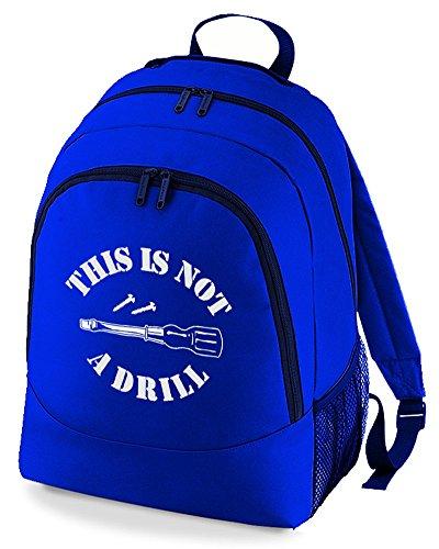 Esta mochila no es un taladro, ideal para hacer manualidades, con texto en inglés 'Funny Print', azul cobalto (Azul) - BPK1065-ROYAL