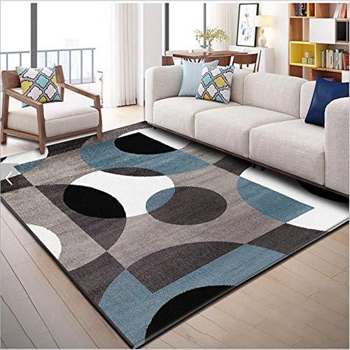 Alfombra moderna rectangular grande para dormitorio, sala de estar, color negro, blanco, azul, multicolor, geometría semicírculo 80 x 120 cm.