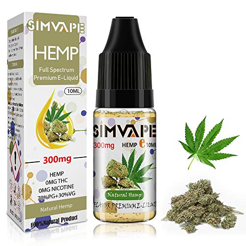 SIMVAPE CBD E liquid 300mg,Hemp Öl Vape liquid 10ml,Hanf Öl für E Zigarette Starter Set/SMOK/E Shisha, PG70/VG30 Eliquid, ohne Nikotin, ohne THC (Natürlicher Hanf)
