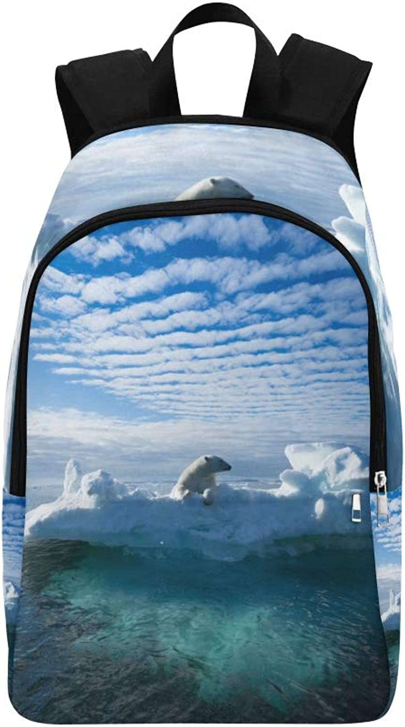 Cool Animal White Polar Bear Casual Daypack Travel Bag College School Backpack for Mens and Women