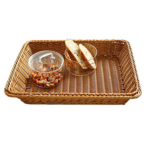 Poly-Wicker Bread Basket Rectangle 15.7in Long Woven Tabletop Rattan Food Fruits Vegetables Serving Tray for Home Kitchen Restaurant