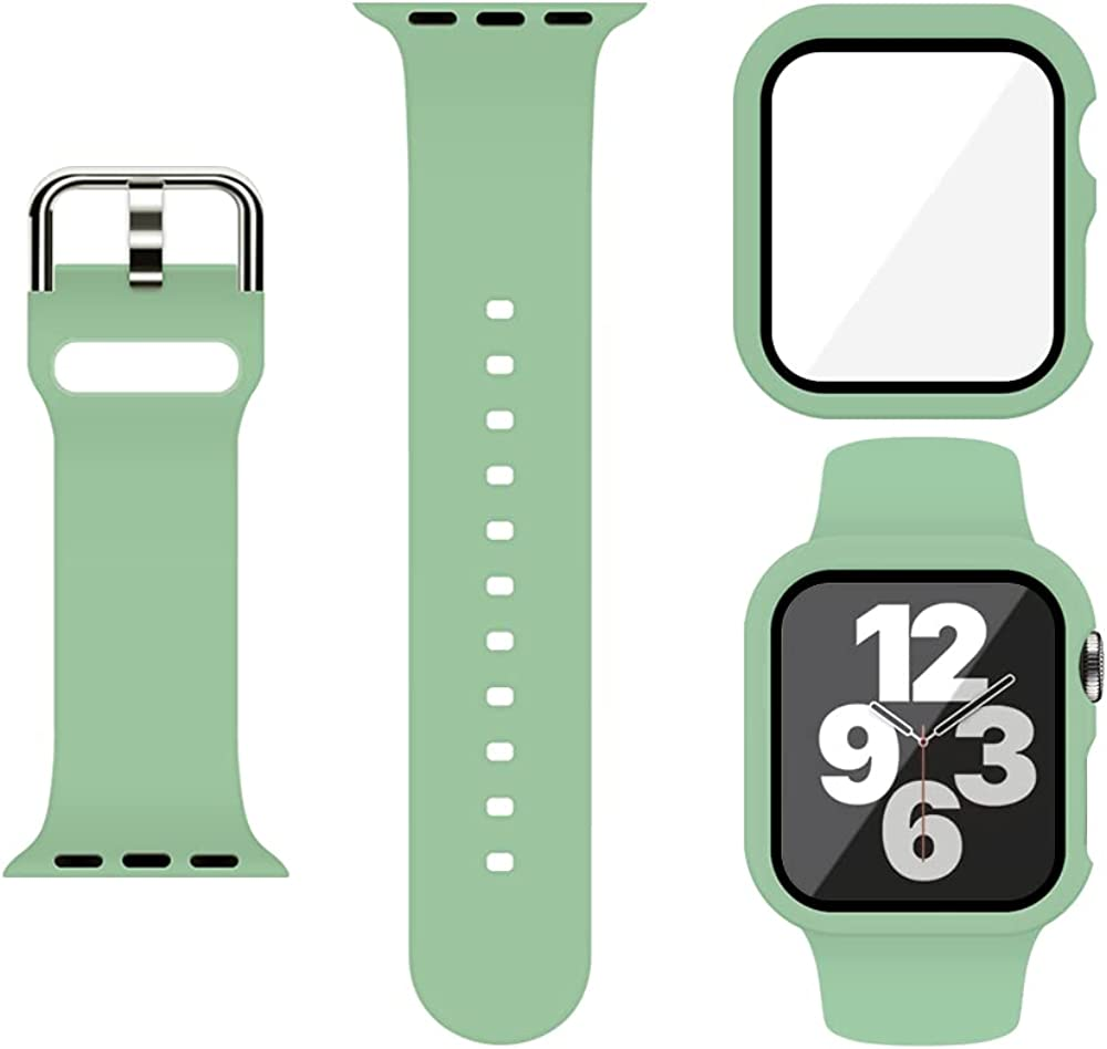 XFEN Sport Silicone Band and Snap on Case with Tempered Glass Screen Protector Compatible with Apple Watch Series 6 SE Series 5 Series 4