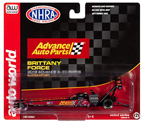 2019 NHRA TFD (Top Fuel Dragster) Brittany Force Advance Auto Parts 1/64 Diecast Model Car by Autoworld AW64006-AWSP025