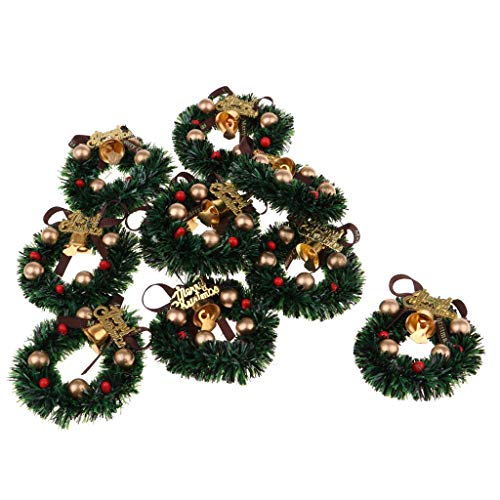 FRECI 10pcs Dollhouse Miniature Christmas Wreath 1:12 Dollhouse Accessories Christmas Decoration Holiday Wreath with Bowknot and Bells