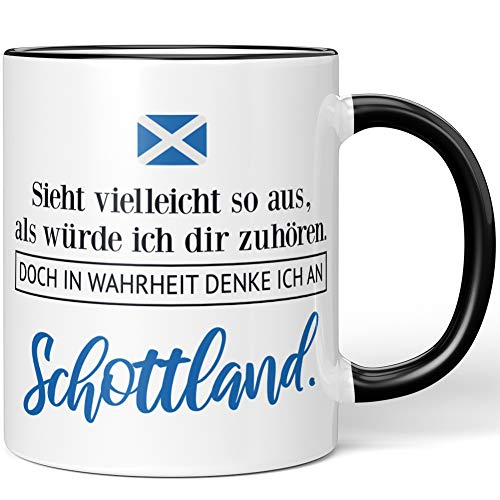 JUNIWORDS Tasse, Sieht vielleicht so aus, als würde ich dir zuhören. Doch in Wahrheit denke ich an Schottland (1001323), Wähle Farbe, Schwarz