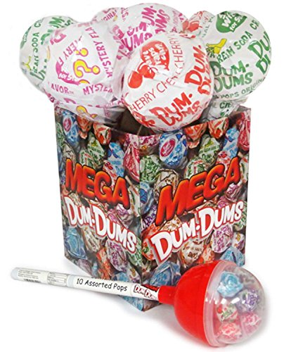 Dum Dums Mega Pop Giant Lollipop Container with 12 Standard sized Hard Candy