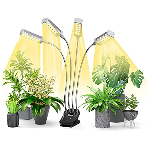 Led Pflanzenlampe Vollspektrum, Grow Lampe für Zimmerpflanzen mit Display-Timer, 192 LEDs Pflanzenlicht, 4 Arten von Modus, 10 Helligkeitsstufen