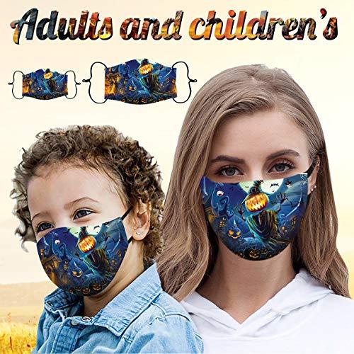 JUSHINI 1/2/3 Stück Kinder Halloween Drucken Baumwoll Mundschutz für Erwachsene Einstellbare Mund und Nasenschutz Waschbar Wiederverwendbare Staubschutz Winddicht Mundbedeckung