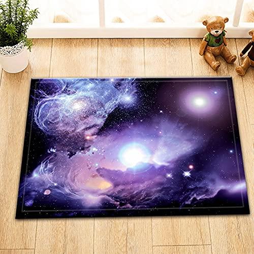 Resumen púrpura cielo estrellado interior antideslizante puerta estera, alfombra de baño, patrón de alta definición 45* 75cm, decoración casera