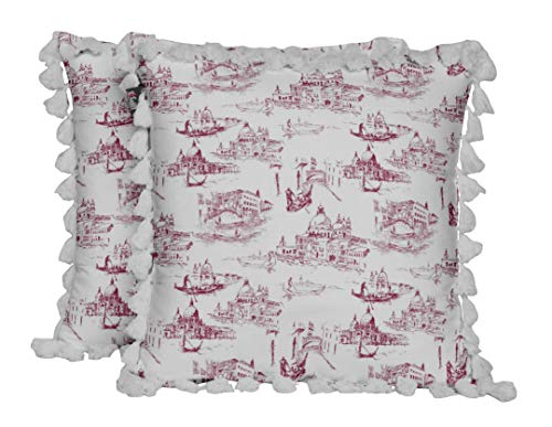 S4Sassy Piedras, Leopardo y Cebra arquitectonico Rojo Sarga De Popelina De Algodón Funda De Cojín De Sofá Impreso Sala De Estar Fundas De Almohada 2 Piezas-18 x 18 Pulgadas
