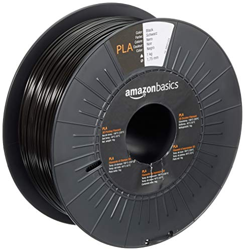 Amazon Basics Filament PLA pour imprimante 3D, 1,75 mm, Noir, Bobine, 1 kg