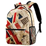 Casual Bag British Flag Guitar Girls Backpack Large With Padded Straps