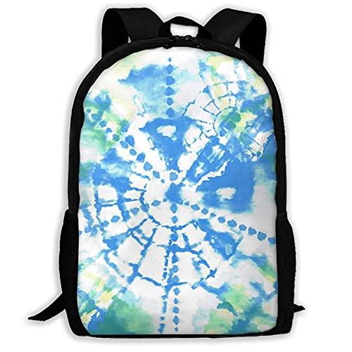 Jupsero Mochila escolar con textura de teñido anudado verde azulado menta, mochila escolar universitaria, mochila informal para adolescentes, mochila Trave para adultos, hombres y mujeres