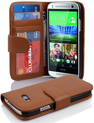 Cadorabo Hülle für HTC ONE M8 Mini (2.Gen.) - Hülle in Cognac BRAUN – Handyhülle mit 3 Kartenfächern - Case Cover Schutzhülle Etui Tasche Book Klapp Style