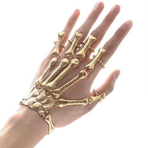 MIUNIKO Halloween Cosplay Punk Gothic Plated Skull Skeleton Bone Hand Finger Ring Bangle Bracelet (Gold)