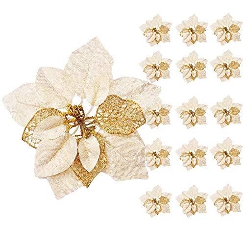 Awtlife - Lote de 15 adornos para árbol de Navidad (22 cm), diseño de flores, color dorado