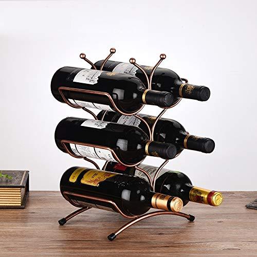 YLPXSXGY Creative Metal Three Tiers Wine Bottle Holder Decorativo Laboral Hierro Arte Vino Rack Barware Dispositivo Artesanía Adorno Accesorios (Color : Copper)
