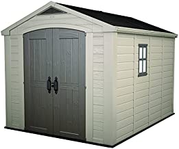 Keter Factor 8x11 Foot Large Resin Outdoor Shed with Floor for Patio Furniture, Lawn Mower, and Bike Storage, Taupe & Brown