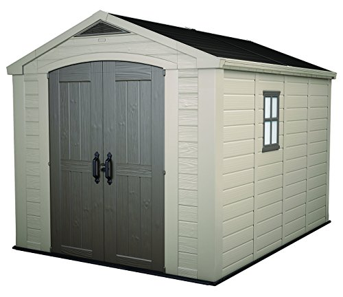 Keter Factor 8x11 Foot Large Resin Outdoor Shed with Floor...