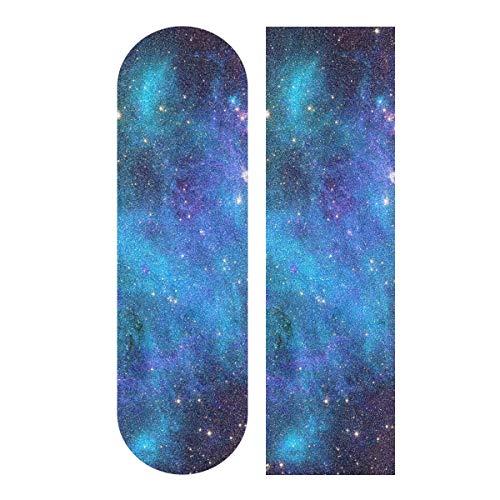 """OREZI Blue Purple Galaxy Stars Skateboard Grip Tape,Longboard Scooter Griptape Sheet Sticker,Bubble Free Anti-Slip,33""""X 9"""""""