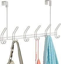 iDesign Classico Metal Over the Door Organizer, 6-Hook Rack for Coats, Hats, Robes, Towels, Jackets, Purses, Bedroom, Closet, and Bathroom, 18.25