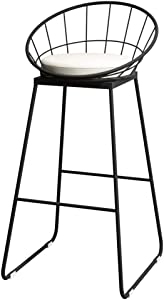 Furniture Stool High Stools Chair Wooden for Kitchen Office Wrought Iron Fabric Cushion Bar Stool Bar Chair Modern Simple High Stool Creative Kitchen Chair Bar Chair Bench Black Size High65cm