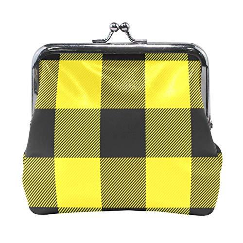 Cartera Escocesa Patrón escocés Amarillo Negro Monedero Bolsas Cartera de Cambio de Cuero Tarjeta Embrague Bolso