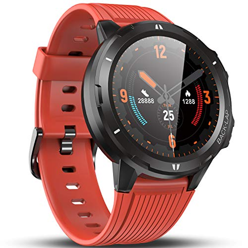 Vigorun Smart Watch Fitness Tracker for Women Men Kids, 5ATM Waterproof Fitness Watch with Heart Rate Monitor, Pedometer, 1.3'' Full Touch Screen, 14 days Battery Life Running Watch for Android Orange