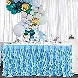 Falda de mesa azul de sauce rizado para bebé tiburón niño género revelar bajo el mar Tulle tutú falda de mesa para mesas rectangulares o mesas redondas para cumpleaños, novia, boda, fiesta de sirena