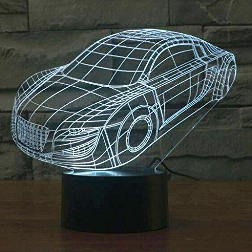 MERIGLARE Race Car 3D LED Ilusión Luz Interruptor Táctil Lámpara de Escritorio Hogar Boda