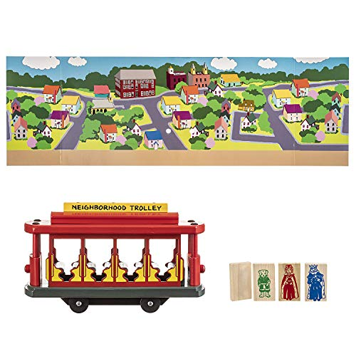 Pepperell Mister Rogers' Trolley Set: Wood, Includes 1 Trolley and 4 Neighborhood Friends, 11 x 3.5 x 6.5 Inches
