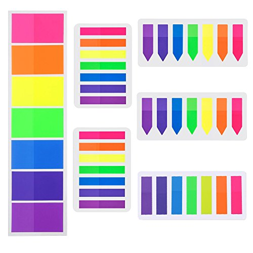 HOONAO 840 Pieces Flags Index Tabs Highlighter Strips 6 Sets Fluorescent Sticky Notes Writable Labels for Page Markers7 Colors