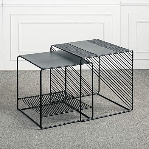 Nesting salontafels Set van 2, vierkante zij-eindtafel voor woonkamer, accenttafels met stevig metalen frame, zwart/wit
