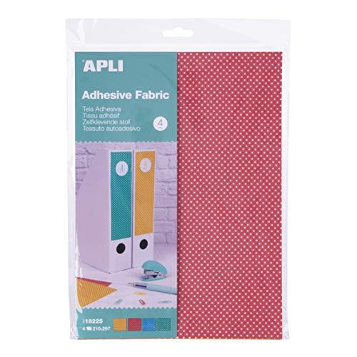 APLI Kids 18225 - Tela adhesiva topos de colores A4 4 hojas