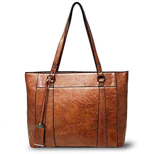 Women Laptop Tote - Large Office Purse - Vegan Leather Work Handbag fits up to 15.6 inch Laptop