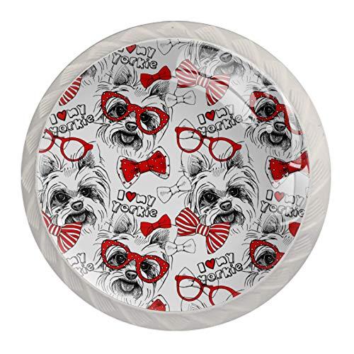 LXYDD Manijas para cajones Perillas para gabinetes Perillas Redondas Paquete de 4 para Armario, cajón, cómoda, cómoda, etc. Imagen Dog York Bows