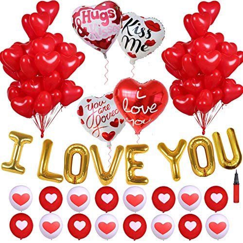 Discover Bargain I Love You Heart Balloons Kit Decorations - Heart Foil Balloon Set, Red Heart Latex...