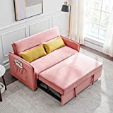 COODENKEY Compact Sleeper Sofa Bed Velvet Pull-Out Couches with 2 Lumbar Pillows and Side Pocket, for Living Room Apartment, Pink