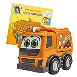 Dickie Toys, spazzatura Volvo con ruota libera, include ist Was Book, non stinge e resistente alla saliva, giocattolo a partire da 1 anno, 14,5 cm, arancione, Colore giallo, 203812010