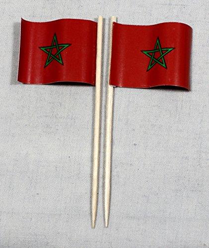 Buddel-Bini Party-Picker Flagge Marokko Papierfähnchen in Profiqualität 50 Stück 8 cm Offsetdruck Riesenauswahl aus eigener Herstellung